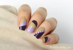 Color Blocking Pedicure | For the lilac/purple/brown color block nails I used the following ...