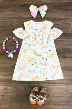 Pastel Unicorn Sunkissed Shoulder Dress