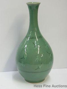 Vtg Antique Signed Celadon Porcelain Chinese Japanese Korean 12 In Tall Vase