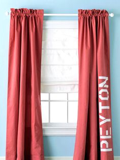 Transform your simple store-bought window treatments with these quick and easy c. Transform your simple store-bought window treatments with these quick and easy curtain ideas for yo Stenciled Curtains, Cool Curtains, Panel Curtains, Curtain Panels, Kids Bedroom, Bedroom Decor, Bedroom Bed, Design Bedroom, Kids Rooms