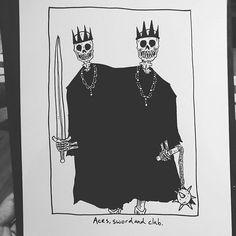 """Aces, sword and club. Skeleton Drawings, Skeleton Art, Cool Drawings, Matt Bailey, Classic Tattoo, Gothic Art, Skull Art, Looks Cool, Dark Art"