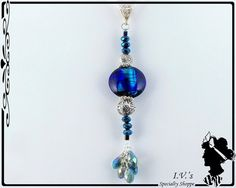 Blue and Silver Pendant by IVsSpecialtyShoppe on Etsy