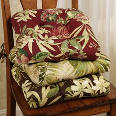 Isadora Indoor/Outdoor Chair Cushions bring tropical delight to your private retreat. These polyester chair cushions feature exotic foliage and florals.