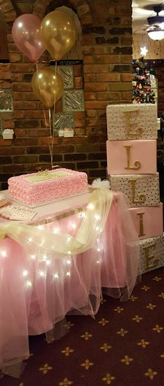 Princess cake pink and gold theme