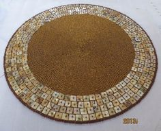 round placemats beaded | Accessories luxury handmade beads embroidery placemat shell placemat ...