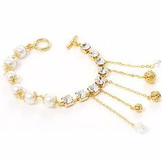 Disco Glass Pearl Bracelet Avalaya. $26.91. Occasion: bridal, prom night. Style: classic. Material: pearls. Gemstone: glass pearl, diamante. Metal Finish: gold