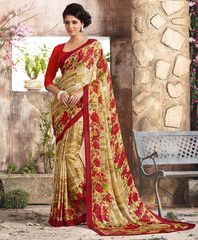 Golden & Red Color Crepe Casual Function Sarees : Karnika Collection  YF-40731