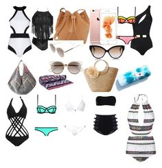"""Beach day"" by magdalenelib on Polyvore featuring MOEVA, Oye Swimwear, Mara Hoffman, WithChic, Milly, Melissa Odabash, Tory Burch, Rachael Ruddick, Christian Dior and Cutler and Gross"