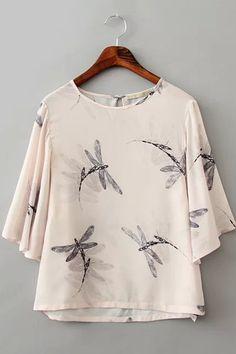 Apricot Round Neck Half Sleeve Print Hollow Shirt