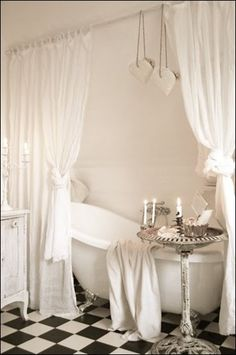 Vintage Home with a very Romantic Bathroom! White with a touch of black