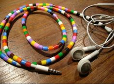 """Decorate your earphones and personalize them with this great """"bead wrap"""" idea!! Check  it out!! :))"""