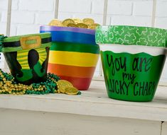 By: Kirsten Jones  Fill these pots with lucky charms. #PlaidCrafts #crafts