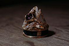 A carat grape garnet set in 14 karat yellow gold with diamonds. Handmade, designed in Nova Scotia, Canada. Signature Design, Nova Scotia, Fireworks, Custom Jewelry, Garnet, Class Ring, Wedding Bands, Amber, Gemstone Rings