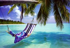 Tropical Beach (Hammock Under Tree, Huge) Art Poster Print Giant Poster. For the bedroom wall, to go with the beach theme in there! Hammock Beach, Summer Beach Pictures, Beach Photos, Beach Pink, The Beach, Ocean Beach, Ocean Waves, Dream Vacations, Vacation Spots