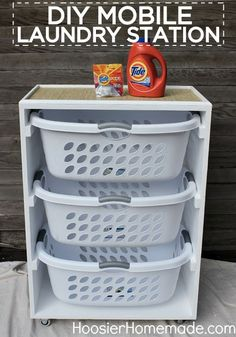 DIY Mobile Laundry Station ~ I could see several of these in a laundry room. One for dirty laundry and one for clean. Organization Station, Closet Organization, Organizing Toys, Organizing Ideas, Roommate Organization, Clothing Organization, Organising, Top Of Dresser Organization, Organization Ideas For The Home