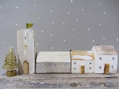 Driftwood cottage sculpture with Miniature by Beyondthecowshed