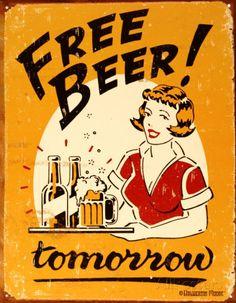 Free Beer Placa de lata na AllPosters.com.br