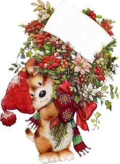 load of flowers for you said bear think it looks like a puppy or dog with the tail either way its cute:)