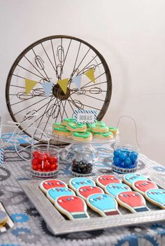 Bicycle birthday party cookies!  See more party planning ideas at CatchMyParty.com!
