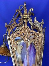Vintage Ornate Hanging white metal Lantern  Gold colour  with cut glass
