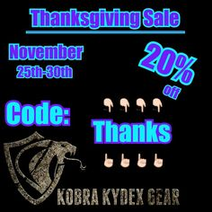 ⚠Thanksgiving Sale⚠ Get 20% off your entire order from November 25th through the 30th when using code Thanks at checkout!  www.KobraKydexGear.com #kobrakydexgear #kydex #wallet #edc #keykradle #holster #knuck #bulletpen