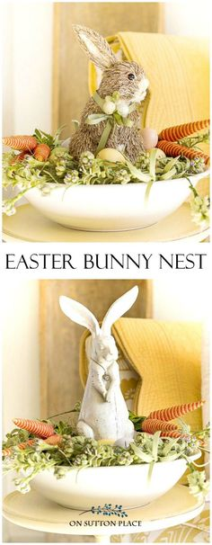 DIY Easter Bunny Nest | Elements include dried grass, carrot bunches, colored eggs and of course a bunny! All items can be found at craft stores. #easterdecor #eastercraft #easterbunny