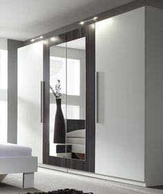 Modern bedroom 4 doors wardrobe closet with mirror white / black new (2540272)