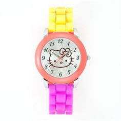 Hello Kitty watch with rubber band in pink/yellow - $10