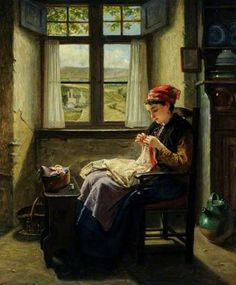 """""""Industry (Girl at Window, Sewing)"""" by Haynes King"""