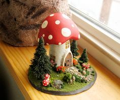 The Mushroom Fairy Messenger House - Child's Room or Fairy Shrine Decor - Miniature Fairy World wih Trees and Stone Pathway. $59.00, via Etsy.