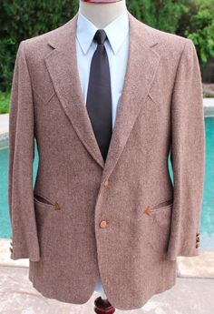 Panhandle Slim Western Blazer Sport Coat size 42L Mens 2 Leather Btn 100% Wool #PandhandleSlim #TwoButton