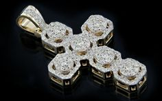 10K Gold 1.30CT Diamonds Micro Cross Pendant - King Johnny - Johnny's Custom Jewelry