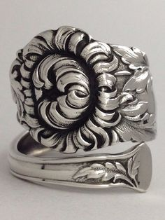 Size 10 Vintage Sterling Silver Spoon Ring