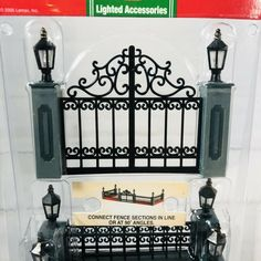 Department 56 Churchyard Fence Wrought Iron And Brick Fence Miniature Fence Set of 4 Model Landscaping Fairy Garden Christmas Village