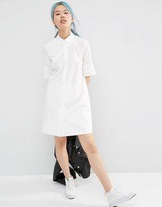 Изображение 4 из Платье-рубашка с асимметричной отделкой спереди ASOS WHITE