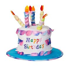 Adult Happy Birthday Cake Hat With Candles Fancy Dress Party Accessory Funny New Amazon