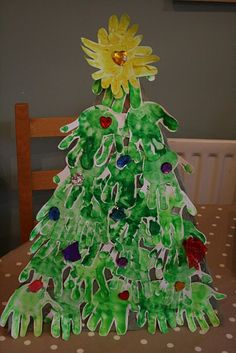 Handprint Christmas Tree Craft by the Imagination Tree Christmas Crafts For Kids, Christmas Projects, Christmas Themes, Holiday Crafts, Christmas Holidays, Christmas Stuff, Christmas Handprint Crafts, Preschool Christmas, Christmas Activities