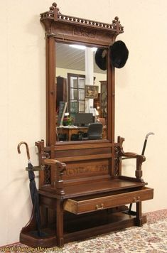 Eastlake 1875 Antique Hall Bench, Stand & Mirror