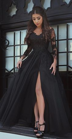 Black evening dress Long Sleeve Black Slit Lace Evening Dress Sexy Black Prom Dress Sexy Evening Dress Black Formal Dress Slit Prom Dress from DRESS Prom Dresses Long With Sleeves, Black Wedding Dresses, Lace Evening Dresses, Black Evening Gowns, Black Weddings, Black Gown With Sleeves, Black Ball Gowns, Long Sleeve Black Dress, Long Ball Dresses
