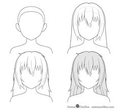 A tutorial on how to draw anime and manga hair for female characters with step by step instructions on drawing twelve different hairstyles Anime Long Hair, How To Draw Anime Hair, Manga Hair, Anime Drawings Sketches, Anime Sketch, Manga Drawing, Easy Drawings For Beginners, Step By Step Hairstyles, Messy Hairstyles