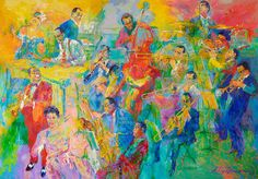 Painting of various jazz musicians in the National Museum of American History cafe. Expressionist Portraits, Abstract Expressionism, American History Museum, Jazz Instruments, Jazz Painting, Leroy Neiman, Cool Jazz, Jazz Band, Jazz Musicians
