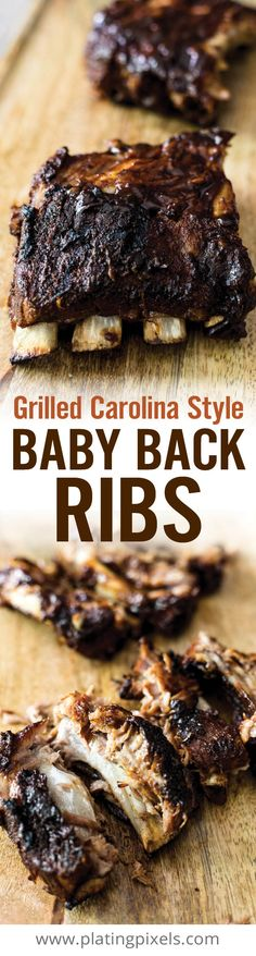 These tender Carolina Style Grilled Baby Back Ribs literally fall of the bone. Slow cooked with a from scratch southern style dry rub. Then coated in a homemade sweet and tangy barbecue sauce that includes mustard, apple cider vinegar, brown sugar and molasses. All gluten free and clean eating ingredients. [ad] #GetGrillingAmerica - www.platingpixels.com