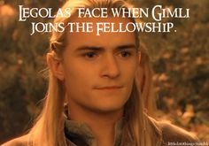 After Gimli had JUST said the he'd never see the ring in the hands of an elf. Legolas is probably pretty annoyed.