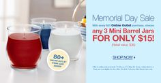 Memorial Day Sale!  Spend $50 in the Online Outlet and choose any Three Mini Barrel Jars for only $15.00!