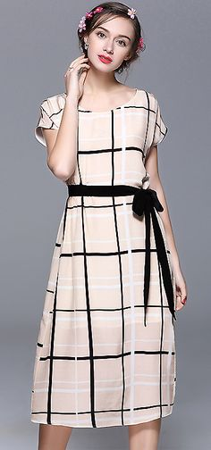 Casual O-Neck Sleeveless Grid Print Belted Skater Dress