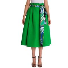 Emilio Pucci Grommet Scarf Skirt ($1,330) ❤ liked on Polyvore featuring skirts, apparel & accessories, full skirt, long full skirt, emilio pucci, green skirt and eyelet skirts