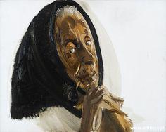 """Stanisław Baj oil on canvas, """"Mother"""" https://pl.wikipedia.org/wiki/Stanis%C5%82aw_Baj"""