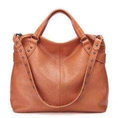 Pojemna torba do ręki w kolorze tycjanowym