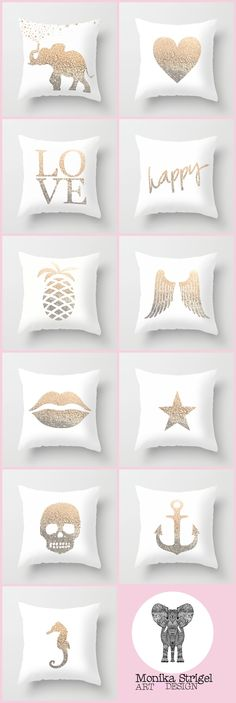 THE MIX & MATCH GOLD PILLOW COLLECTION by Monika Strigil   about $20 each