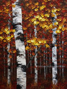 """In the Shadows"" 30""x40"" Acrylic Fall Tree Painting on Canvas. MELISSA MCKINNON Contemporary Abstract Landscape Artist features BIG COLOURFUL PAINTINGS of Aspen & Birch Trees, Rocky Mountains and stunning views of the Canadian prairies, big skies and ocean beaches. Western Art available for sale. (Detail Image of colourful red, orange and yellow leaves, tree trunk and impasto paint texture)"